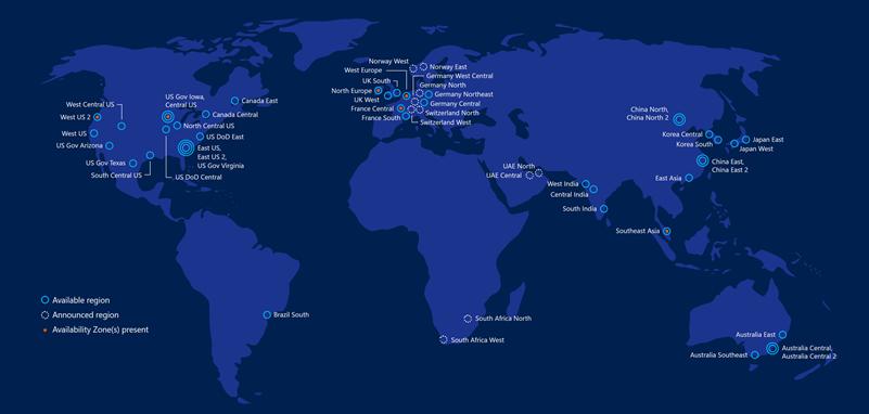 Azure locations