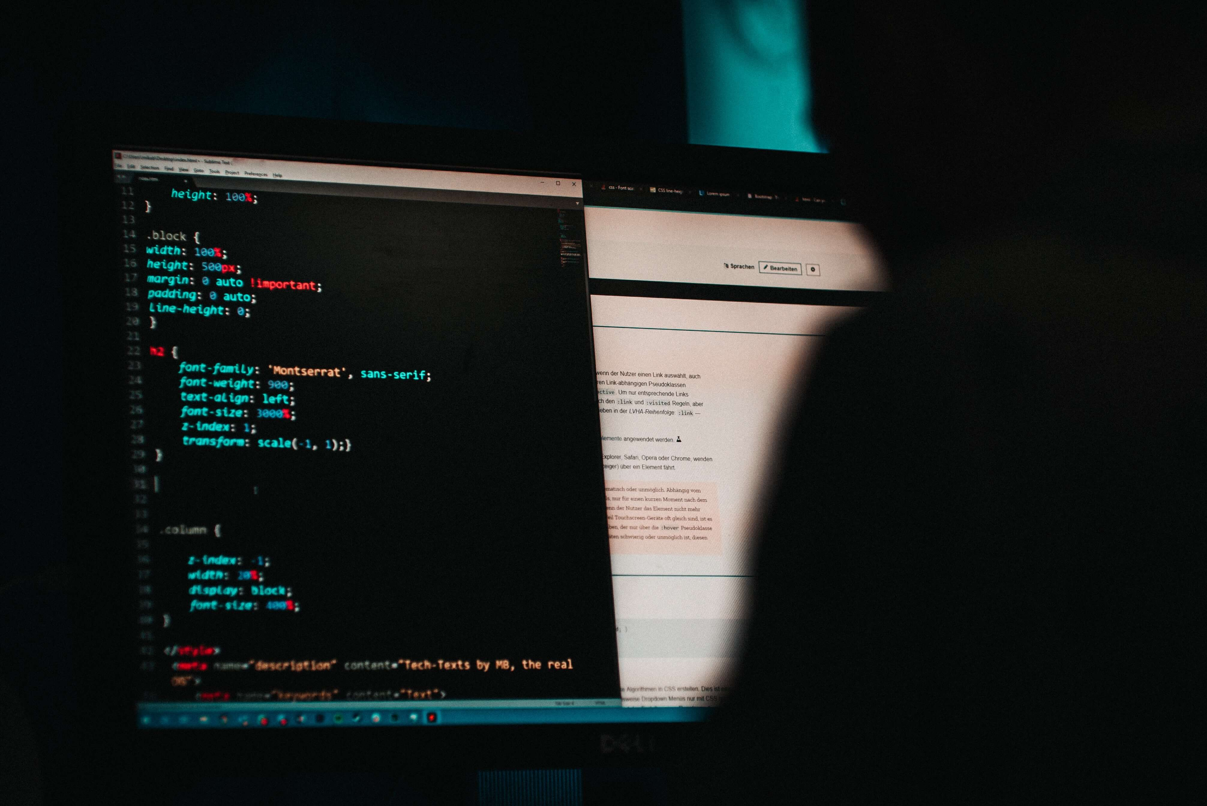 Hacker looking at a computer screen